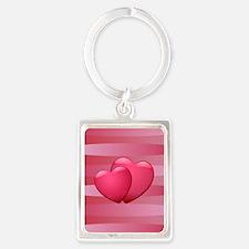 Cute lover hearts valentine Portrait Keychain