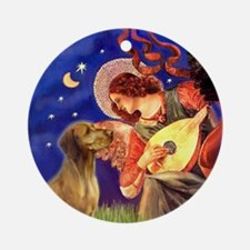 Mandolin Angel & Vizsla Ornament (Round)