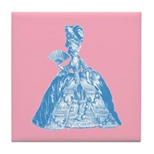 18th Century Lady Blue Tile Coaster