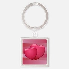 Cute lover hearts valentine Square Keychain