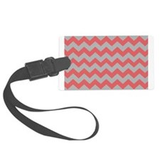 Coral And Gray Chevron Stripes Luggage Tag