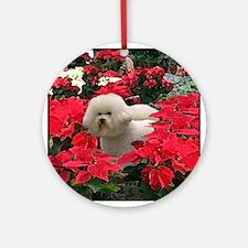 Bichon Frise Christmas Poinsettia Ornament (Round)