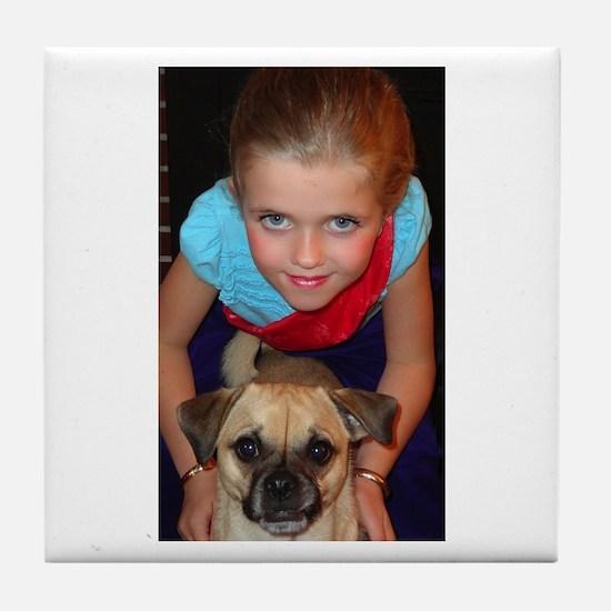 Girl and her Chug Tile Coaster