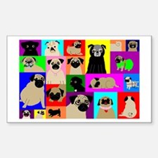 Lots o Pugs Rectangle Decal