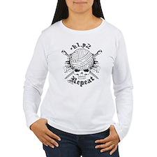 Knitting Skull Black Long Sleeve T-Shirt
