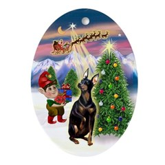 Santa's Take Off & Manchester Oval Ornament