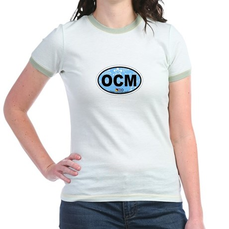 Ocean City MD - Oval Design. Jr. Ringer T-Shirt