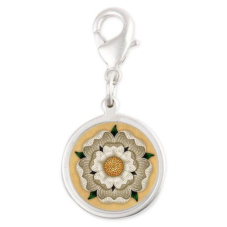 White Rose Of York Silver Round Charm