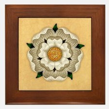 White Rose Of York Framed Tile