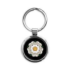 White Rose Of York Round Keychain