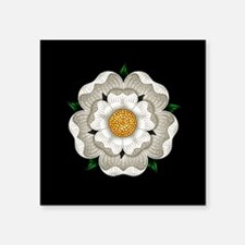 "White Rose Of York Square Sticker 3"" x 3"""