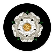 White Rose Of York Round Car Magnet