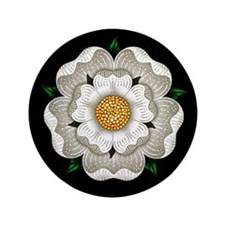 "White Rose Of York 3.5"" Button"