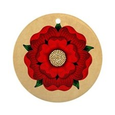 Red Rose Of Lancaster Ornament (Round)