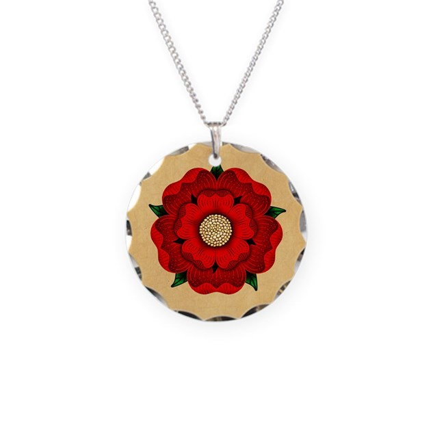 Dollar Tree Lancaster: Red Rose Of Lancaster Necklace Circle Charm By Opheliasart002