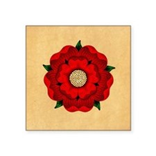 """Red Rose Of Lancaster Square Sticker 3"""" x 3"""""""