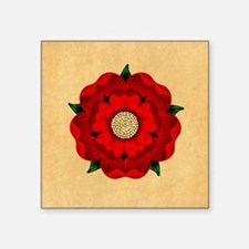 "Red Rose Of Lancaster Square Sticker 3"" x 3"""