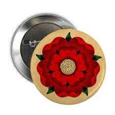 """Red Rose Of Lancaster 2.25"""" Button"""