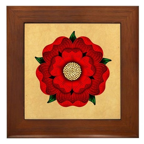 Red Rose Of Lancaster Framed Tile