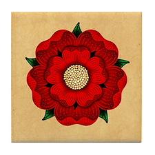 Red Rose Of Lancaster Tile Coaster