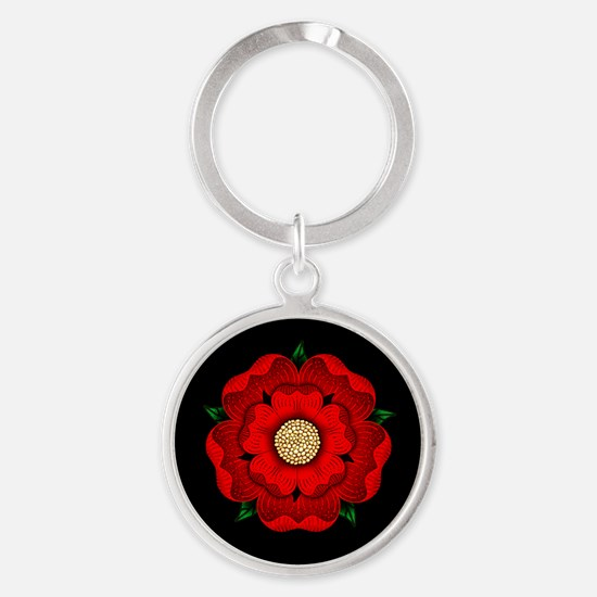 Red Rose Of Lancaster Round Keychain