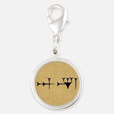 Inanna Cuneiform Silver Round Charm