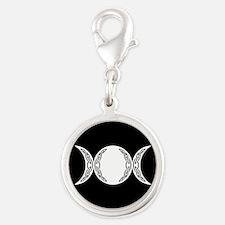 Triple Goddess Moon Symbol Silver Round Charm