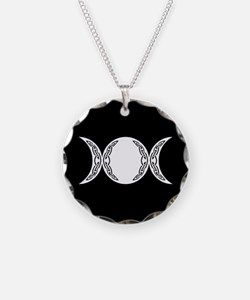 Triple Goddess Moon Symbol Necklace Circle Charm