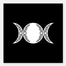 "Triple Goddess Moon Symbol Square Car Magnet 3"" x"