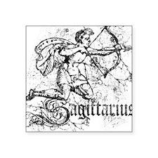 "Worn Zodiac Sagittarius Square Sticker 3"" x 3"""