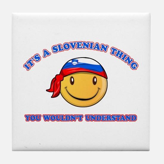 Slovenian Smiley Designs Tile Coaster