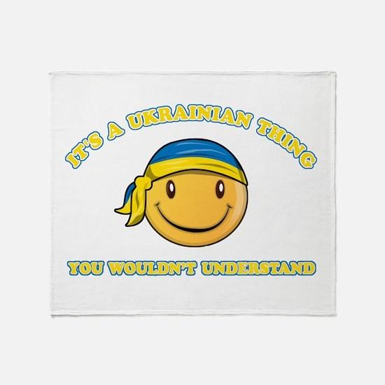 Ukrainian Smiley Designs Throw Blanket
