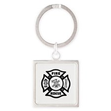 Fire Rescue Square Keychain