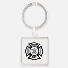 Firefighter EMT Square Keychain