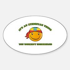 Ethiopian Smiley Designs Sticker (Oval)