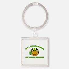 Jamaican Smiley Designs Square Keychain