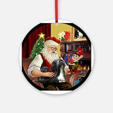 Santa's Lhasa Apso (blk) Ornament (Round)