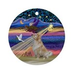 Xmas Star and Light Golden (Bmr) Ornament (Round)