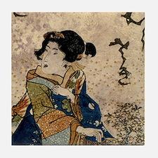 Vintage Japanese Art Woman Tile Coaster