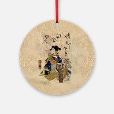 Vintage Japanese Art Woman Ornament (Round)
