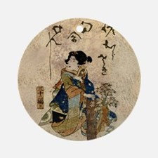 Vintage Japanese Art Woman Ornament (Round)
