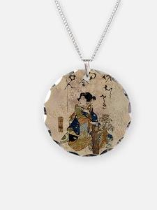 Vintage Japanese Art Woman Necklace