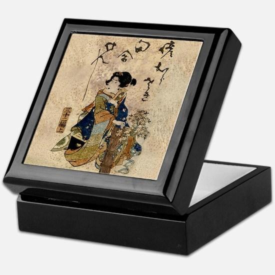 Vintage Japanese Art Woman Keepsake Box