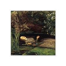 "Millais Ophelia Square Sticker 3"" x 3"""