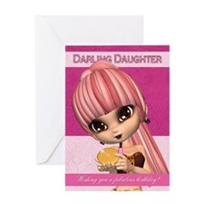 Daughter Trendy Birthday Girl Greeting Card
