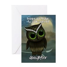 Daughter Cute Owl Birthday Greeting Card