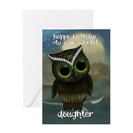 Daughter Cute Owl Birthday Greeting Card