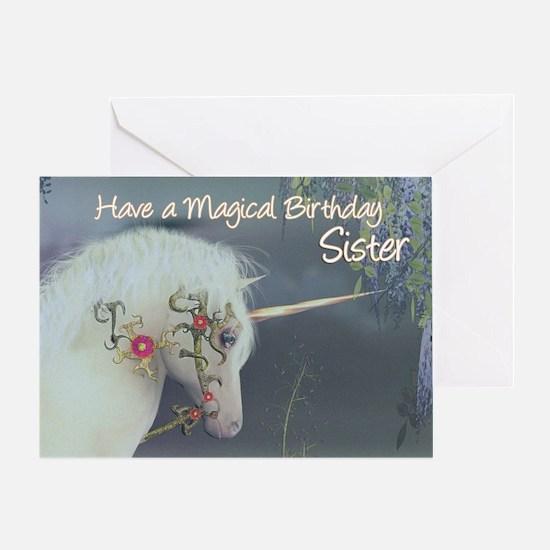 Sister Birthday Card with Unicorn, Fantasy Birthda