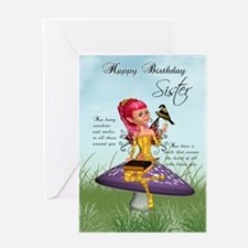 Sister Fairy Birthday Greeting Card