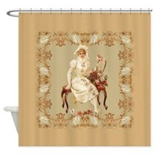 Vintage Woman In White Seated Shower Curtain
